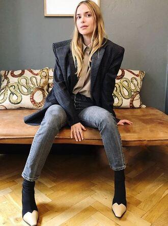 jacket blazer oversized jeans pernille teisbaek blogger instagram shirt