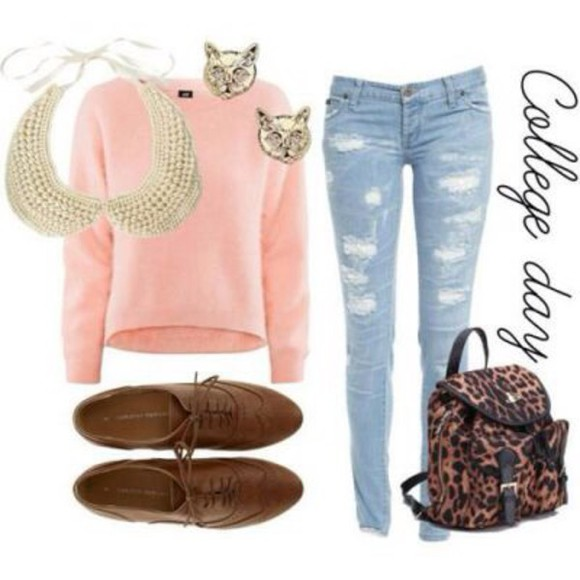 peter pan collar jewels jeans destroyed jeans destroyed skinny jeans ripped jeans pink sweater