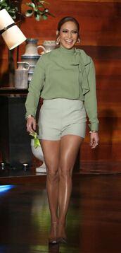 shorts,pumps,blouse,jennifer lopez,shoes,velvet shoes,nude pumps,high heel pumps,green top,green blouse,mint,green shorts,celebrity style,celebrity