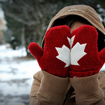 cute white winter canada gloves scarf red