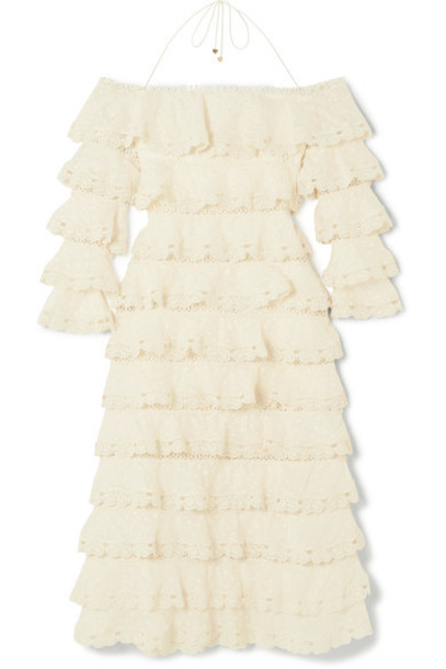 Zimmermann dress lace cotton silk cream