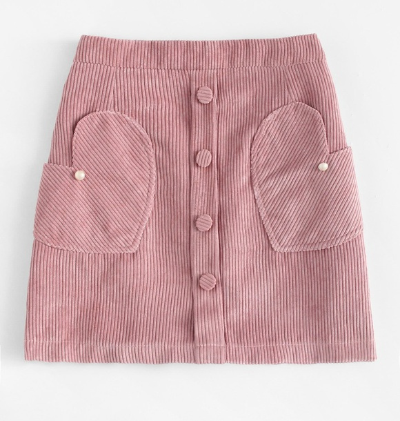 skirt girly pink heart button up button up skirt corduroy cute
