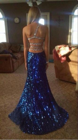 dress royal blue prom dress sparkle dress long prom dress