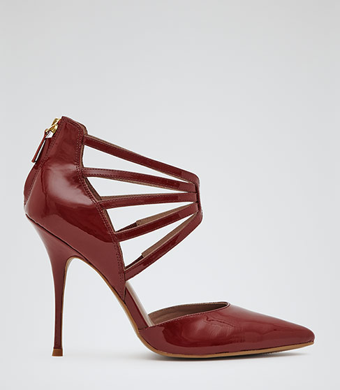 Rae Red Strappy Front Court Shoes - REISS
