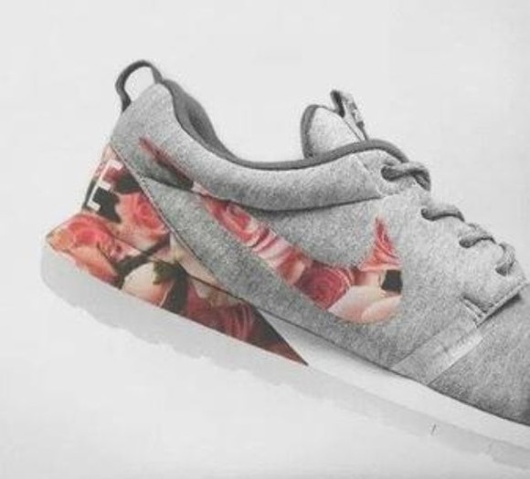 floral shoes nike gray floral shoes nikes tribal print roses nike roshes floral
