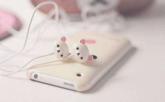 headphones jewels cute adorable teddy bear my daily style music