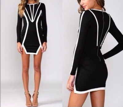 Black and white long sleeved detailed bodycon dress