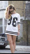 Topshop white number 86 tee t shirt top size m/l