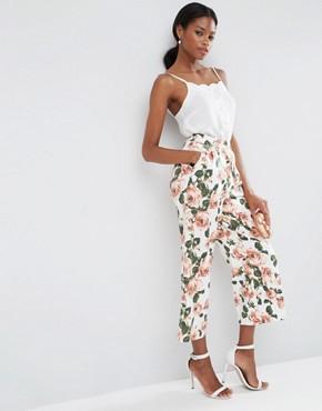ASOS Wide Leg Floral Culottes Co-ord at asos.com