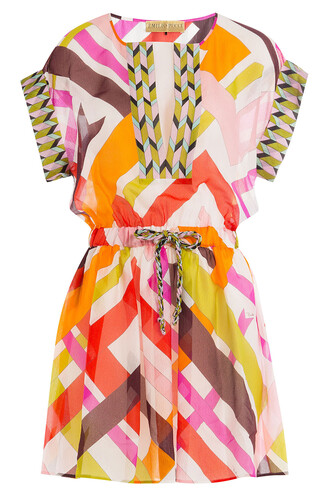 tunic drawstring silk multicolor top