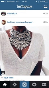 nail accessories,jewels,statement necklace,silver jewelry,necklace,hair accessory,i want this amazing neklace so much but i can't find it,jewelry,boho jewelry,grey,white,pretty,girly,girl,summer outfits,summer,outfit,outfit idea