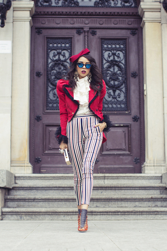 macademian girl blogger red stripes cat eye jacket top pants shoes jewels sunglasses bag ruffle shirt ruffle red jacket striped pants cropped pants mirrored sunglasses white shirt clutch statement earrings earrings high heels