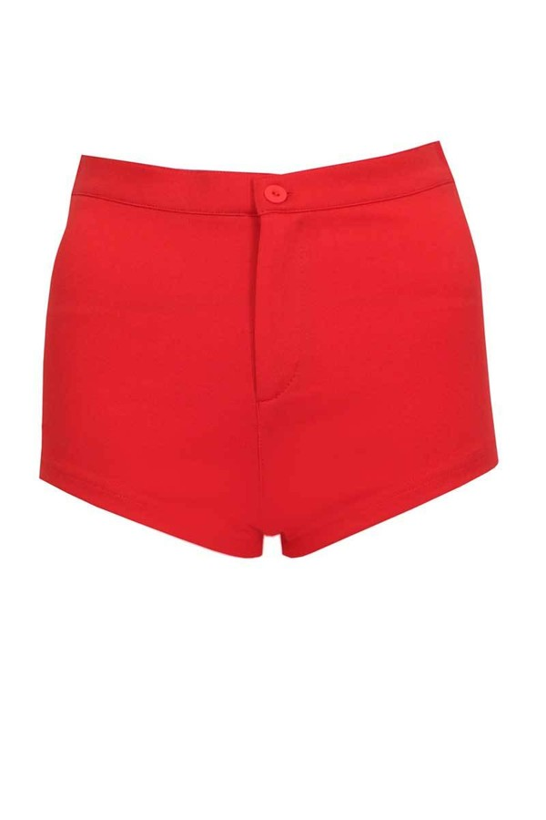 Ladies Almera Hot Pants in Red | Pop Couture