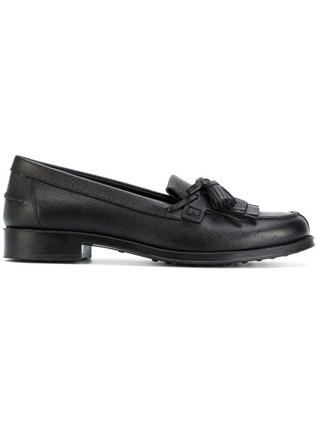 TOD'S tassel women loafers leather black shoes