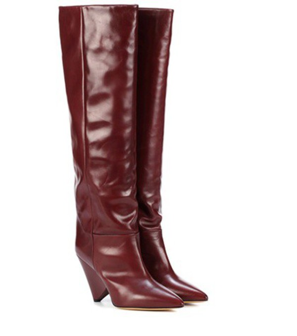 Isabel Marant Lokyo leather knee-high boots in red