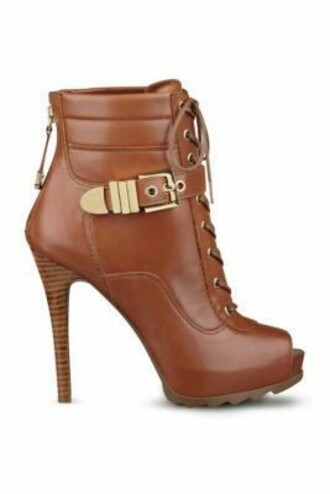 shoes gold gold buckled boots tan with gold buckle tan leather heels cute peep toe boots