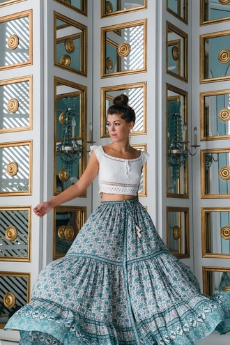 skirt blogger blogger style long skirt boho skirt white top boho chic