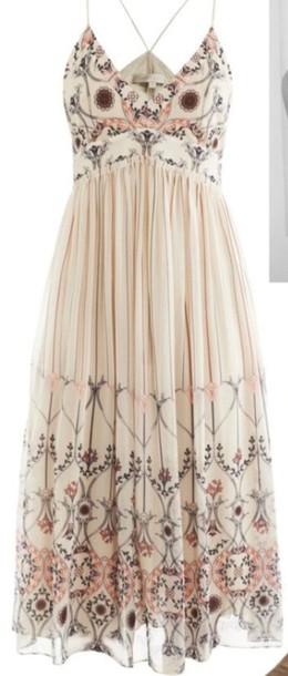dress boho dress see through dress cream dress summer dress romantic summer dress