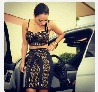 dress two piece dress set black dress gold sequins