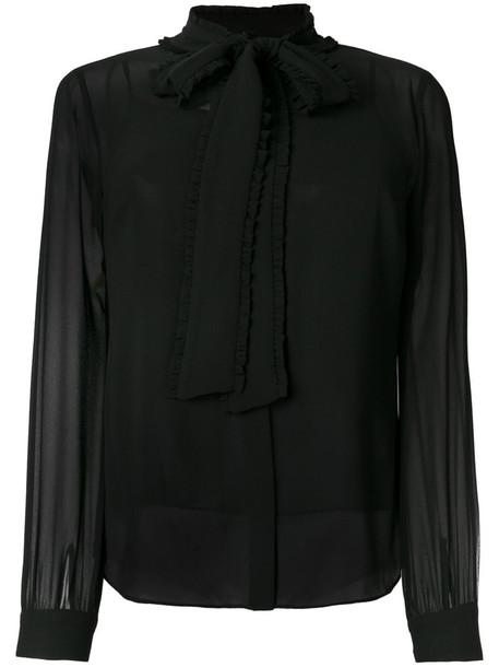 Michael Michael Kors - pussy bow blouse - women - Polyester - M, Black, Polyester