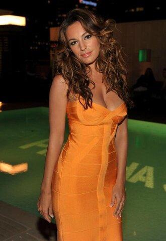dress bandage dress sexy dress midi dress orange dress bardot off the shoulder