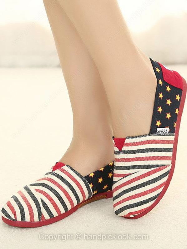 shoes star print shoes flats toms stripes stars