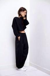 pants,shirt,black,baggy,baggy pants,trendy,blouse,balck,loose trousers,longsleeve crop top