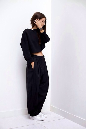 pants shirt black baggy baggy pants trendy blouse balck loose trousers longsleeve crop top