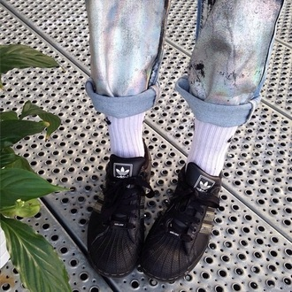 jeans pants pantalon adidas olographic light blue jeans style grunge korean fashion metallic shoes