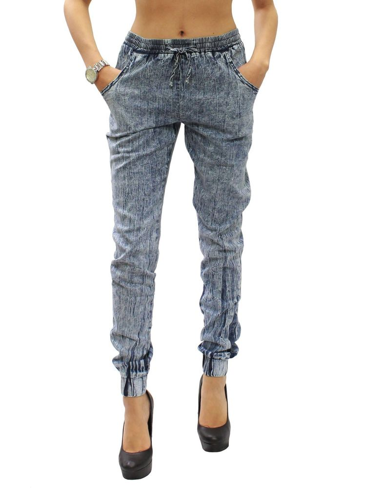 New Indigo Acid Wash Light Denim Elastic Waist Jogger Pants Size S M L RF433