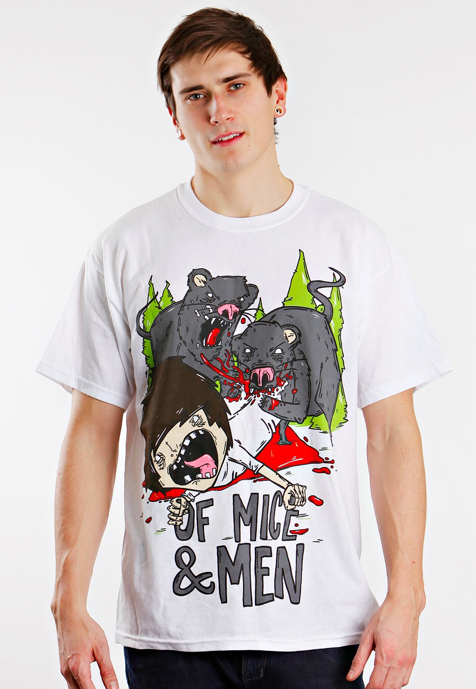 Of Mice & Men - Mice Eating Men White - T-Shirt Merch Store - Impericon.com UK