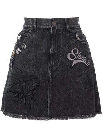 skirt denim skirt denim patched denim black
