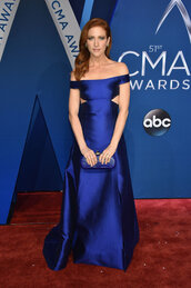 dress,brittany snow,gown,prom dress,off the shoulder,off the shoulder dress,blue,blue dress,satin,red carpet dress,cma awards