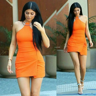 dress kylie jenner kylie jenner shoes orange dress short dress sleeveless dress