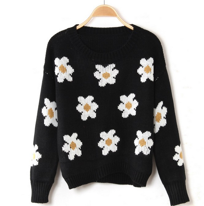 Women Black Daisy knit Sweater [YGQ-1-black#]