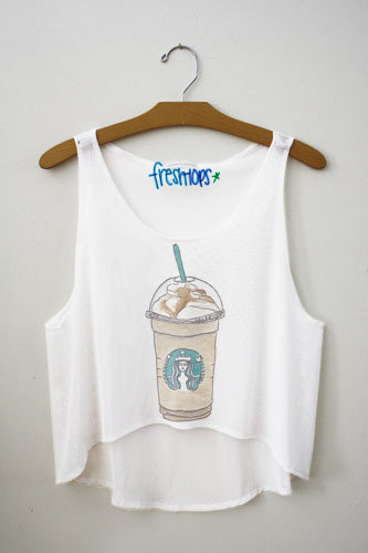 Starbucks Carmel frappuccino Fresh-Tops Crop Top | fresh-tops.com on Wanelo