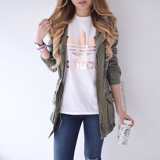 shirt jacket cute trendy adidas green white white t-shirt instagram