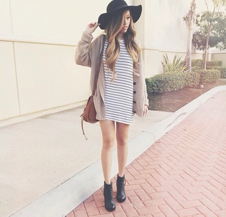 dress stripes cardigan blogger boots black mini dress hat summer street style outfit idea streetstyle