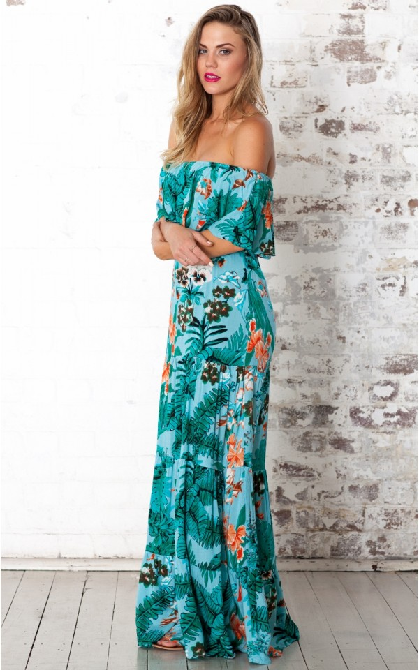 Tropical hideaway maxi dress in blue print