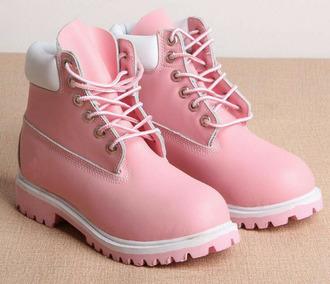 shoes light pink timberlands light studded