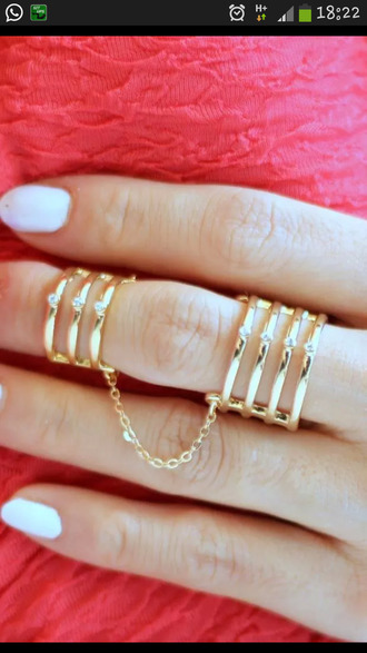 jewels chain link triple ring