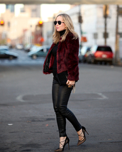 brooklyn blonde,blogger,pointed toe,strappy shoes,faux fur jacket,burgundy jacket,fall jacket,leather leggings,coat