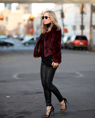 brooklyn blonde blogger pointed toe strappy shoes faux fur jacket burgundy jacket fall jacket leather leggings coat