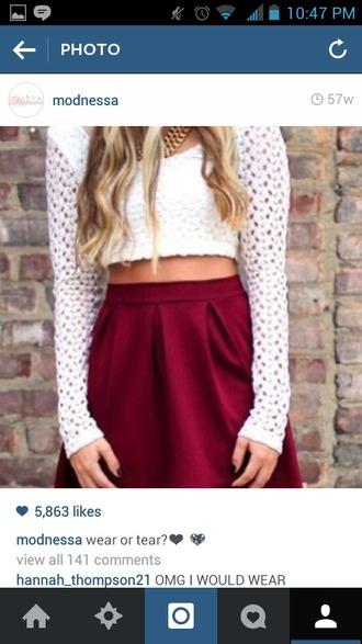 skirt red skirt white crop tops polka dots