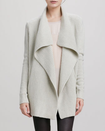 Vince Ribbed Drape-Collar Cardigan, Ivory - Neiman Marcus
