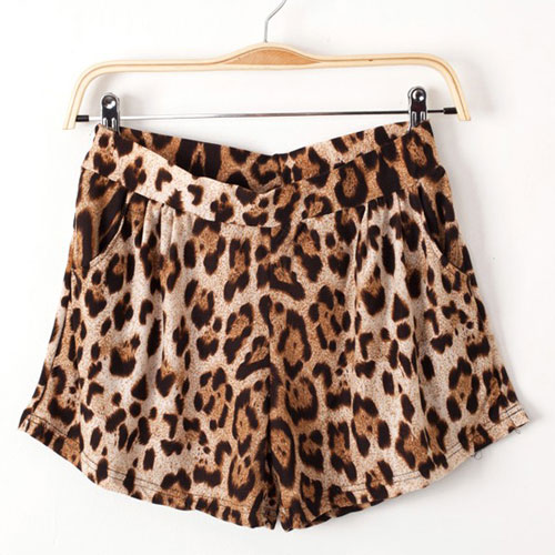 Contrast color leopard print stretchy shorts hot pants [grxjy561275] on luulla