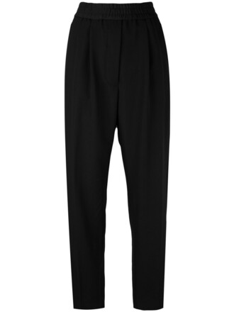 pants track pants women cotton black silk wool