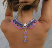 dress,purple,pink,cool back,jewels,colorful,necklace