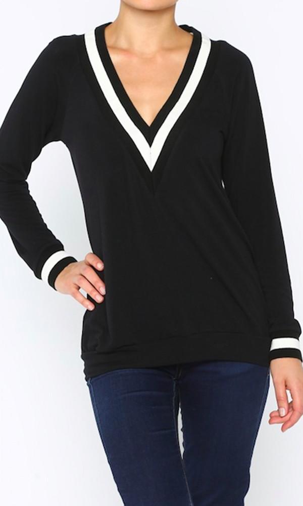 Varsity deep v pullover sweater