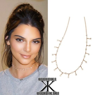 jewels choker necklace kendall and kylie jenner kendall jenner boho choker rose gold choker gold choker jewelry gold gold necklace necklace kendall jenner jewelry kardashians keeping up with the kardashians model model off-duty